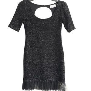 Bettina Liano Black Shimmer Bodycon Dress Sz 10 Organza Hem Super stretchy